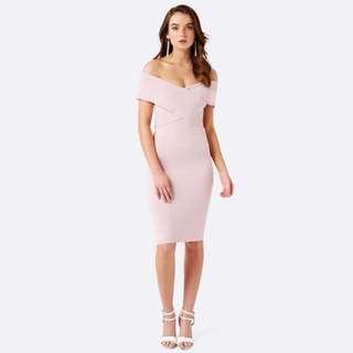 Forever New Kiki Sleeveless Cross Front Dress in Blush