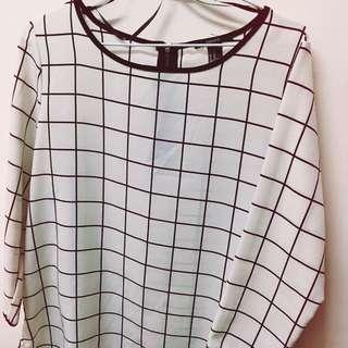 🚚 質感格紋黑白相間七分袖襯衫
