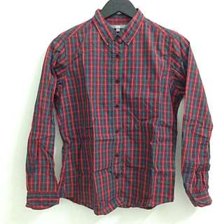 UNIQLO Women Extra Fine Cotton Patterned Long Sleeve Shirt in Red - Size L