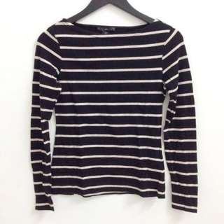 H&M Boat Neck Striped Long Sleeve Top - Size M