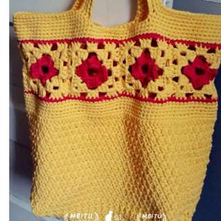 Crochet Weekend Tote/Large Casual Bag/Gift Bag - READY TO SHIP