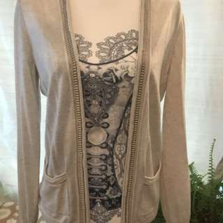 Banana Republic ivory wool, open front cardigan. Sz S