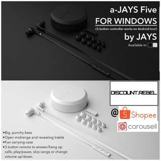 🔥12.12🎧Sale🇸🇬A-JAYS FIVE WINDOWS EARPHONE COMPATIBLE WITH ANDROID & IOS HAS BUTTONS + MIC