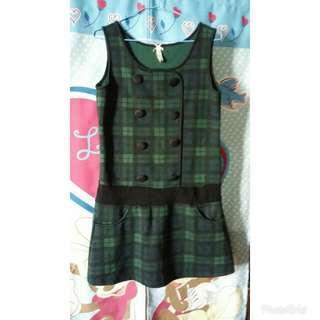 🚚 綠格子洋裝