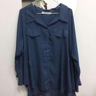 🚚 土耳其藍雪紡襯衫