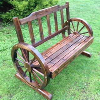 Outdoor Wooden 2 Seater Wheel Garden Bench 1.1m brand new