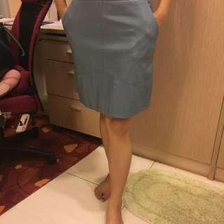 🚚 Zara水藍皮裙