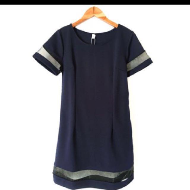 韓版深藍修身短袖連衣裙翻#手滑買太多