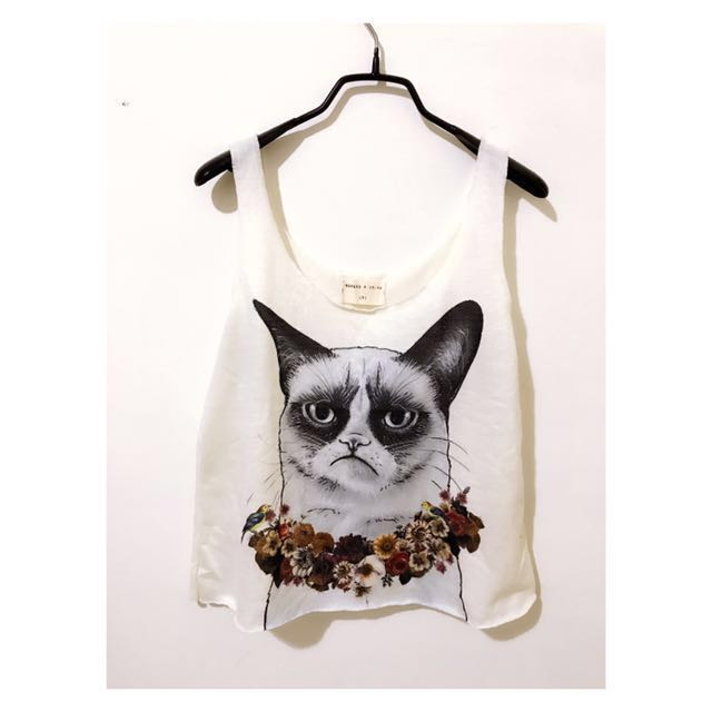 二手)貓咪圖案短版無袖背心