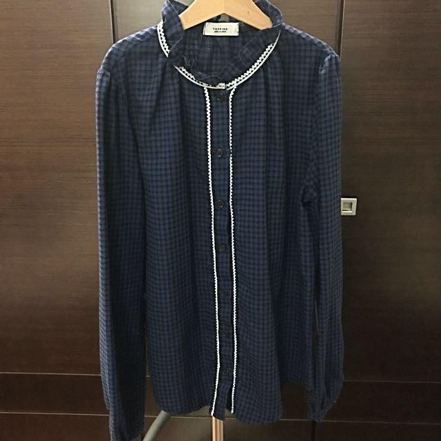英式復古小荷葉領深紫藍格紋襯衫
