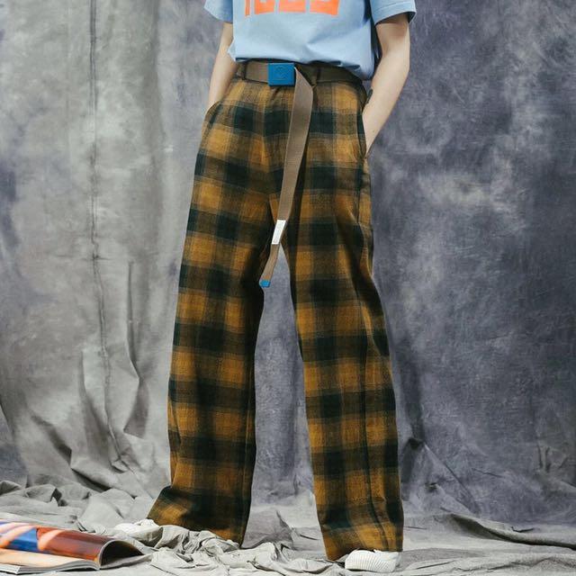 日系街頭薑黃色格紋直筒長褲