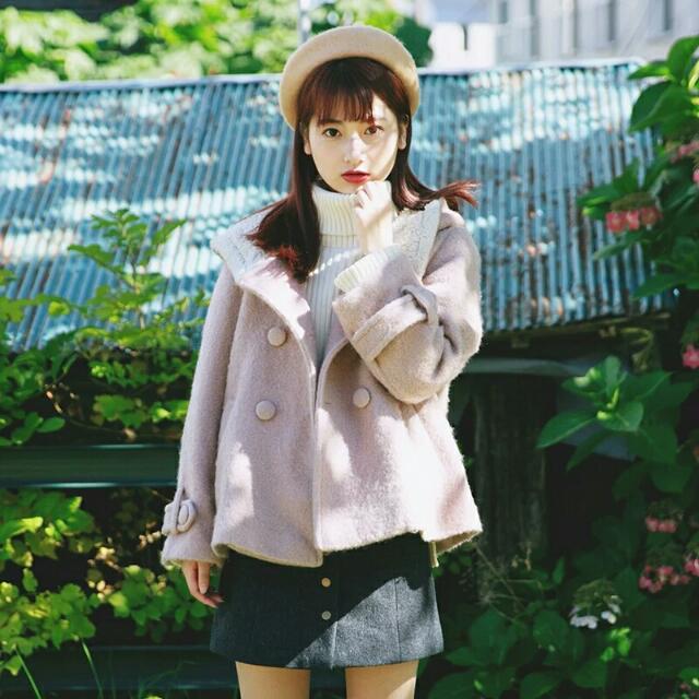 日單珍珠毛料連帽外套