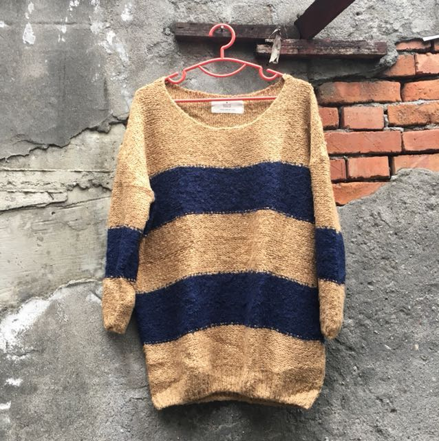 泰迪熊條紋毛衣