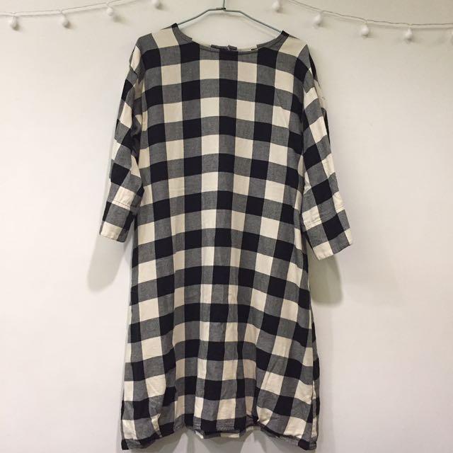 日系黑白格紋洋裝