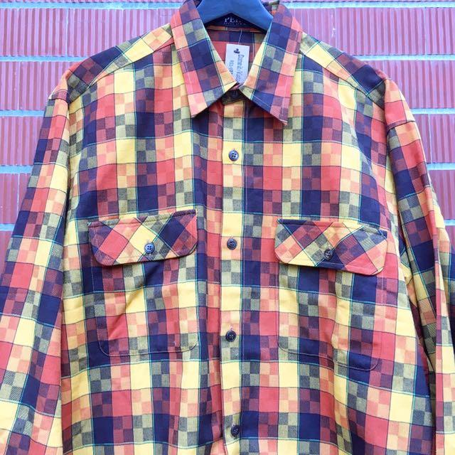 顛復古⚡️復古繽紛迷幻馬賽克格紋古著長袖工裝襯衫❤️男女皆可
