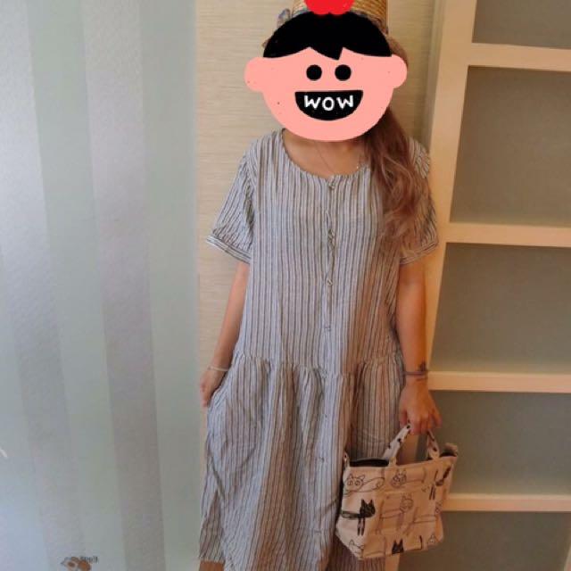 日系直條連身長洋裝