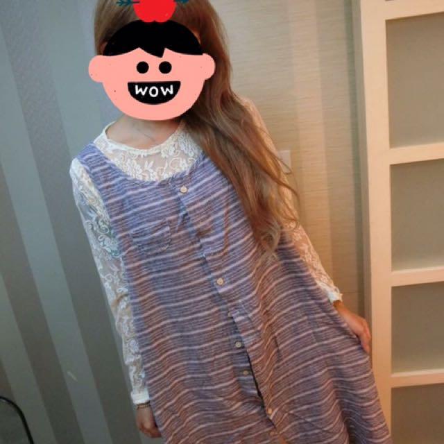 日系橫條棉麻洋裝