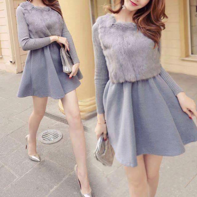 灰色時髦優雅修身洋裝