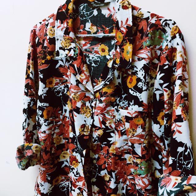滿版花漾寬版襯衫