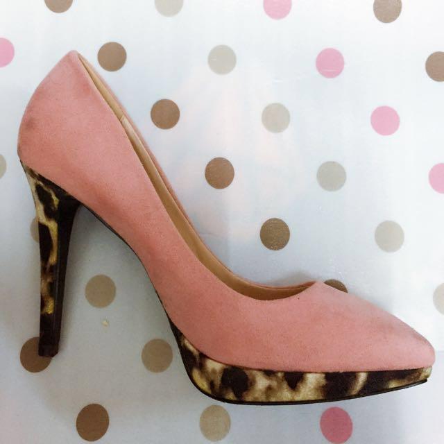 甜蜜系混搭豹紋高跟鞋
