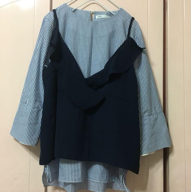 (韓)直條襯衫搭花瓣背心(兩件式