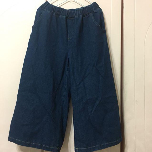 (韓)牛仔布寬褲