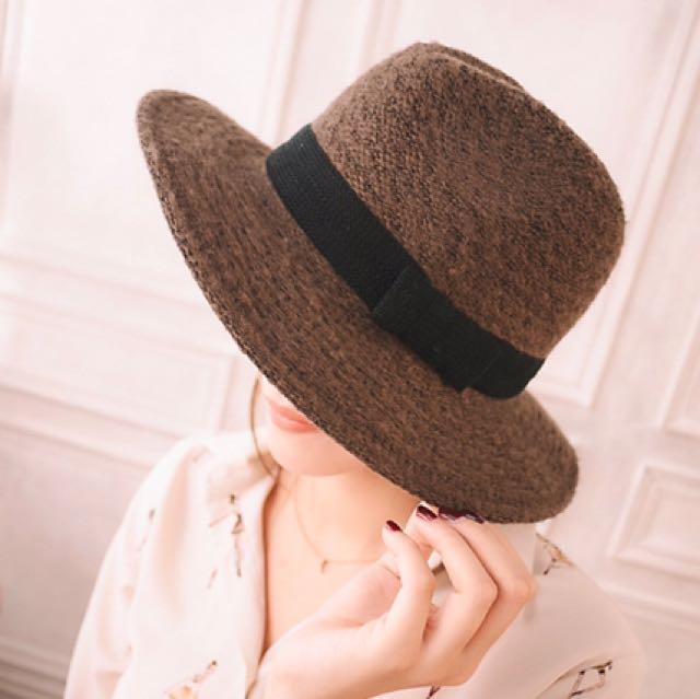 全新正韓毛呢紳士帽