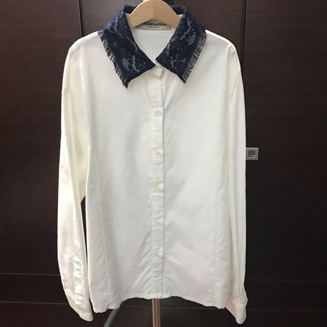 全新 深藍蕾絲領拼接精緻質感襯衫