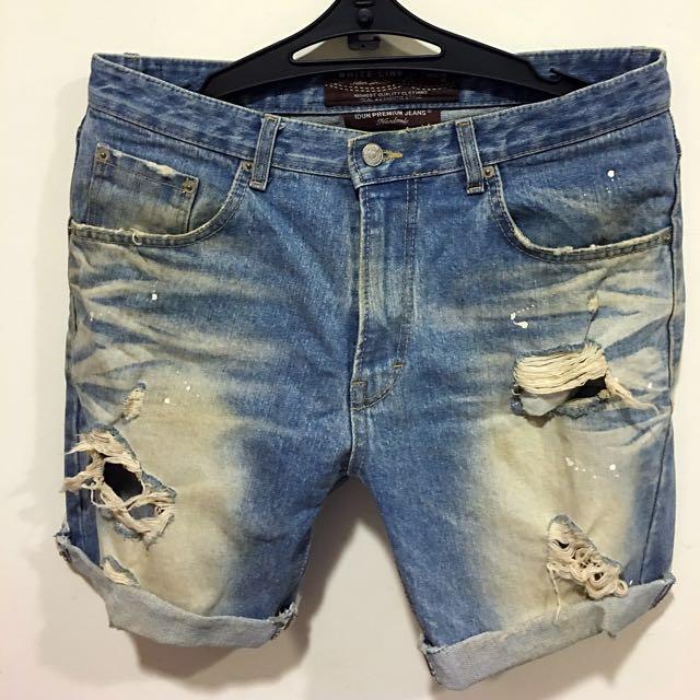韓製 潑漆 破壞 刷白牛仔短褲 淺藍
