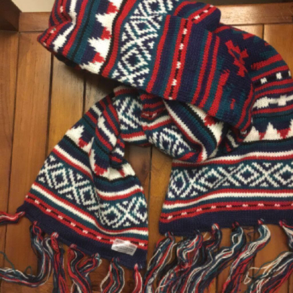 全新 日本 針織 圍巾 圖騰 民族風 古著 保暖 流蘇