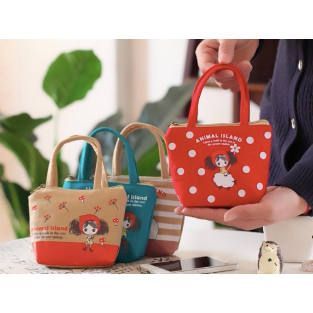 迷你帆布零錢包 普拉女孩 卡通 可愛 鑰匙包 零錢包 卡包 迷你手提包 Q版 婚禮 小物