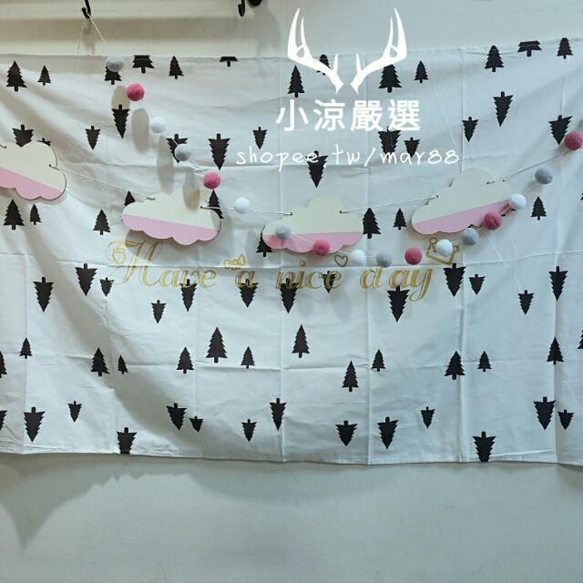 現貨💐 ig爆款北歐風 雲朵木片掛串 拍照道具 幼稚園派對兒童房間嬰兒床佈置櫥窗裝飾