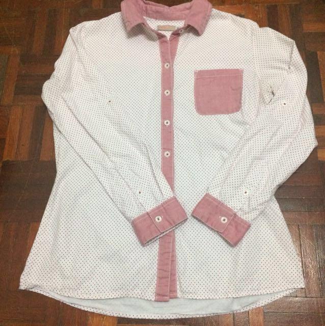 💕 Polka dot white / pink shirt / kemeja