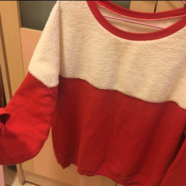 聖誕紅白毛茸茸衛衣 大學T #好物任你換 #手滑買太多