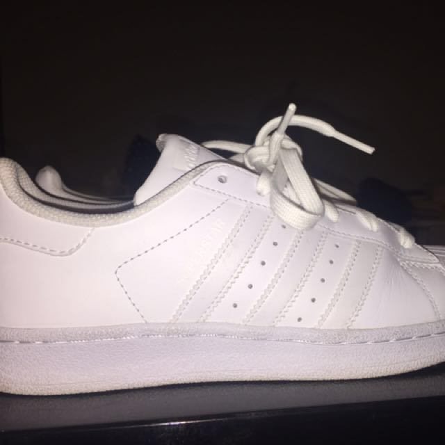 Adidas All White Superstars Size 5