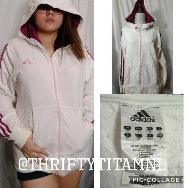 Adidas White/Pink Hoodie Large