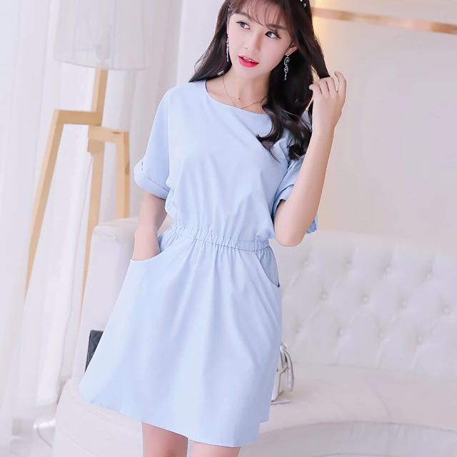 Baby blue dress with pocket