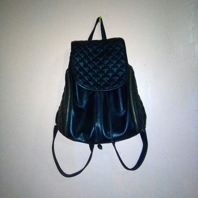 Black bagpack leather