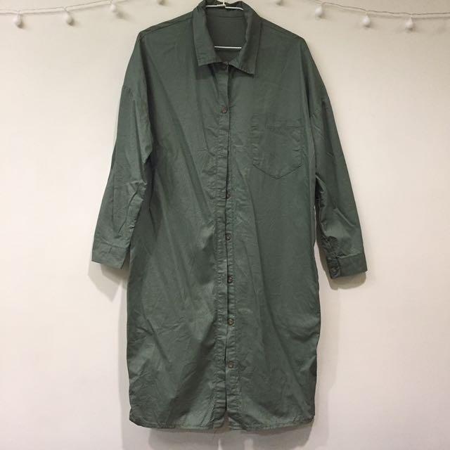 black vin綠色襯衫洋裝