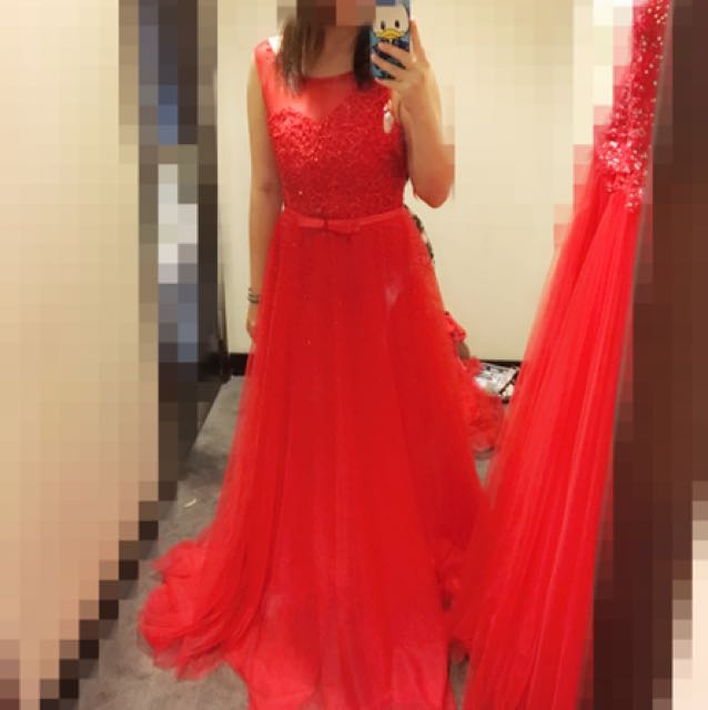 Blood red wedding/party dress