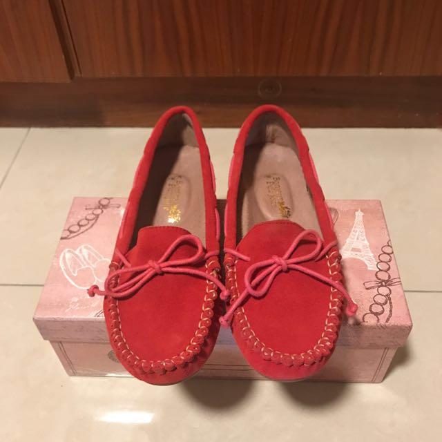 BONJOUR手工麂皮豆豆鞋☆內裡厚墊真皮平底鞋C☆紅色