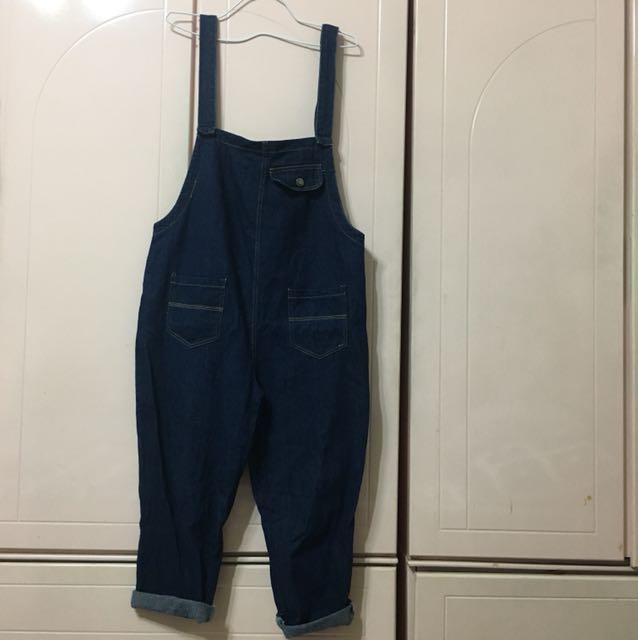 (CACO)兩面穿牛仔寬吊帶褲(m)