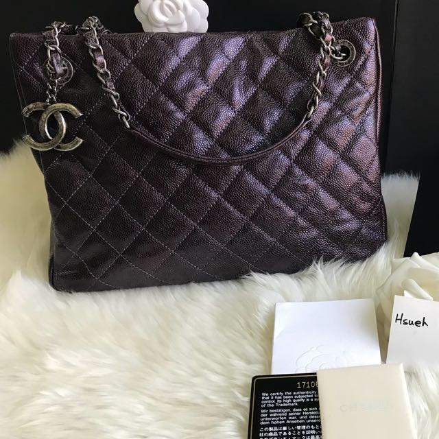 Chanel 荔枝皮紫色三層購物包