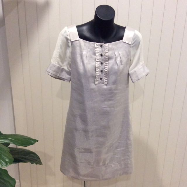 CUE silver dress with sheer sleeves