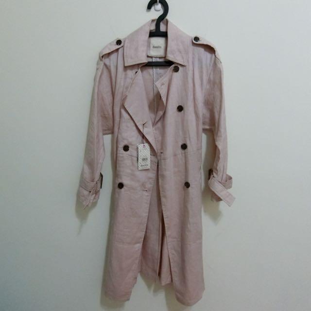 日牌Dazzlin 粉色麻料風衣