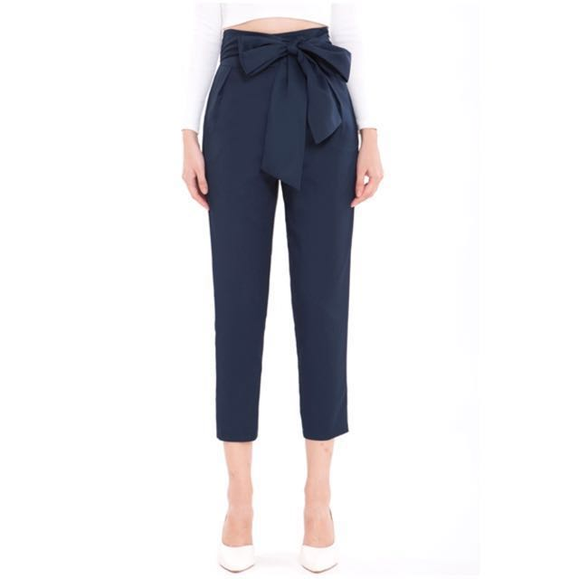 Doublewoot Sash Bow trousers (Navy Blue)