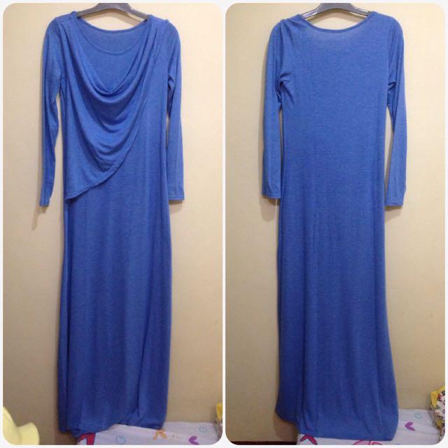 Dress Biru Draperi