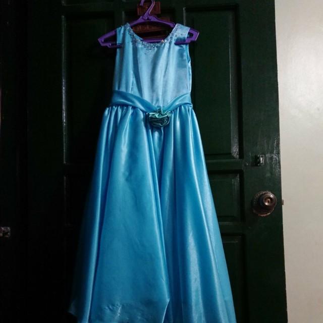 Dress- Pang-abay Blue with ribbon design