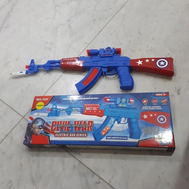 Electric Gun captain america. PISTOL BERSUARA DAN BERLAMPU