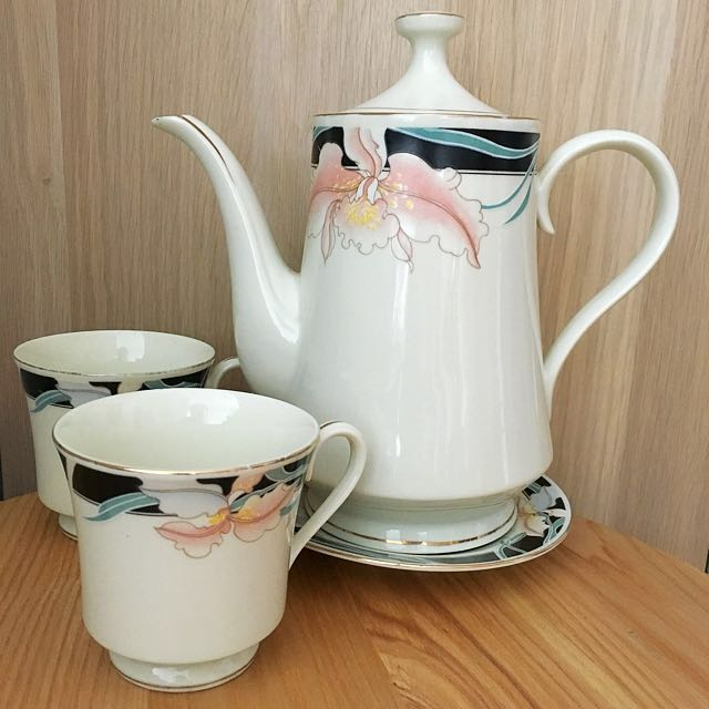 Elegance Ivory Fine China Teapot Cups Cup Set Vintage Home Decor ...